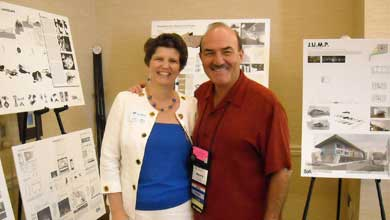 [Catching up with old friends -- DCP Development Director Lynne Capece meets up with long-time friend and DCP alum Henry A. Woodroffe, M.Arch 1976, ARC 1972, at the AIA Florida conference. Capece and Woodroffe first met in the early '90s in Tampa through Kiwanis.]